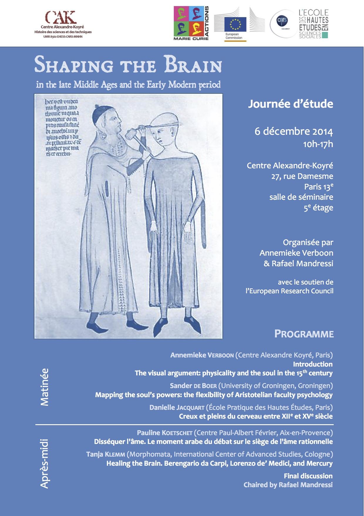 Journée d'étude : Shaping the Brain in the late Middle Ages and the Early Modern period