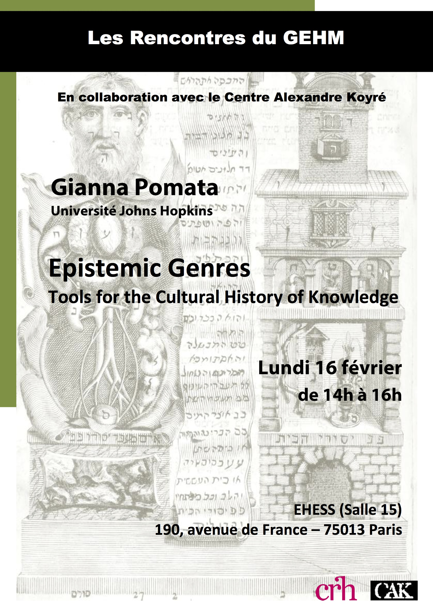 Conférence de Gianna Pomata : Epistemic Genres. Tools for the Cultural History of Knowledge (Les Rencontres du GEHM)