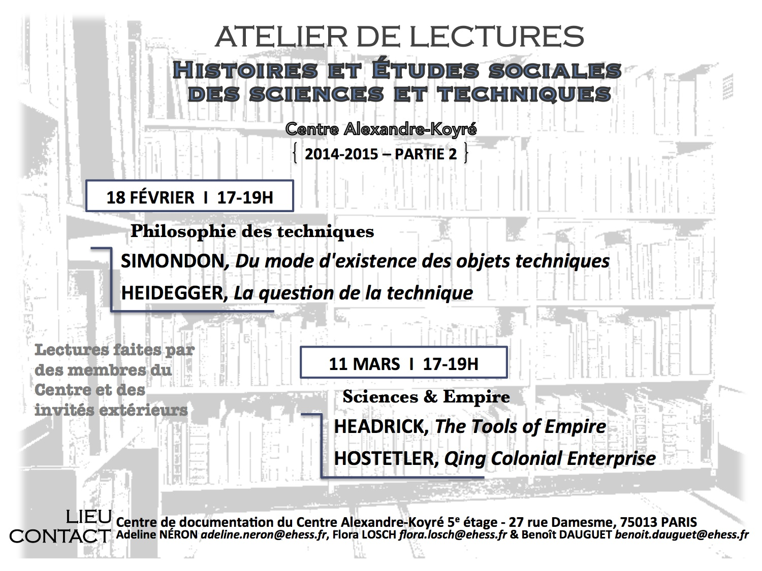 Atelier de lectures du CAK : Sciences & Empire