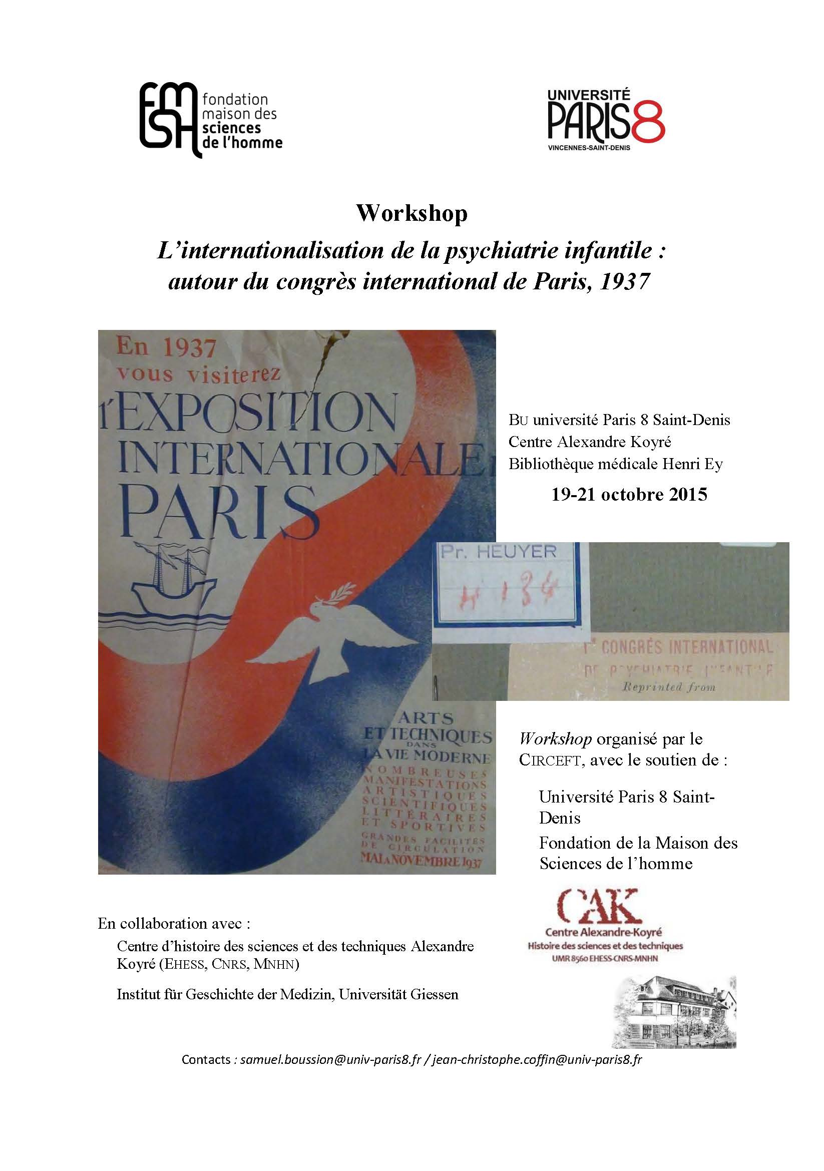 Workshop : L'internationalisation de la psychiatrie infantile