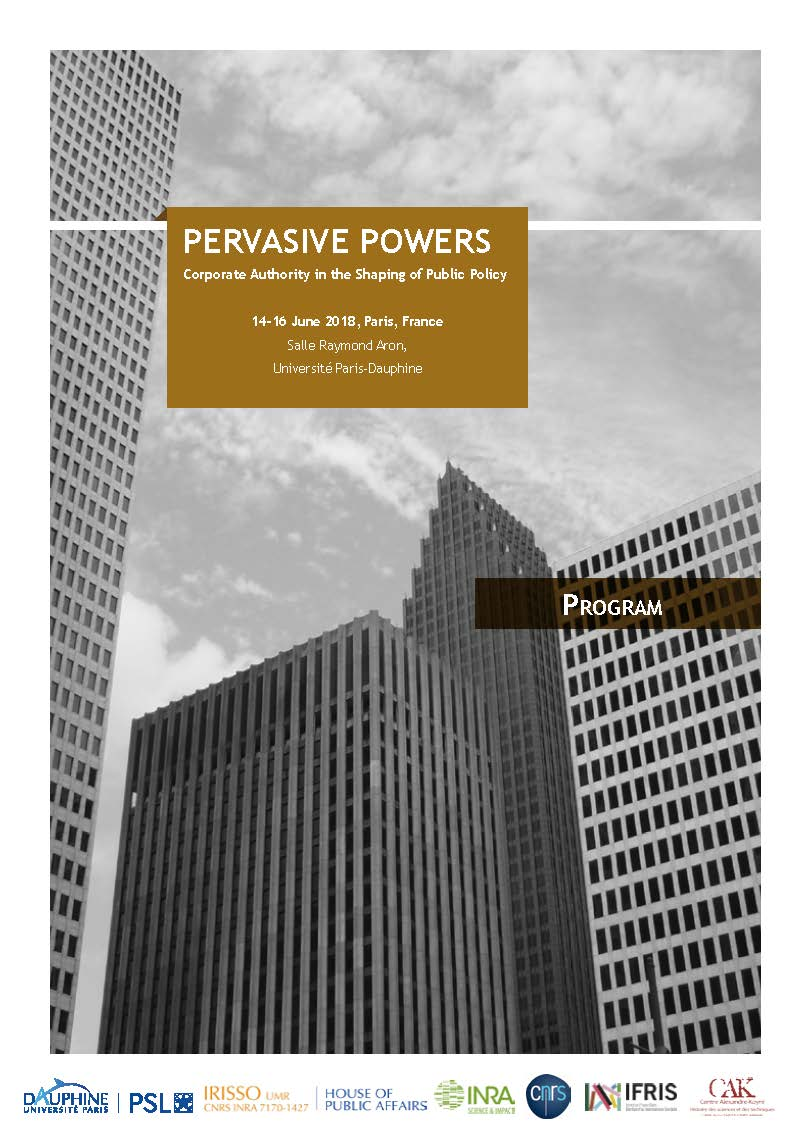 Conference - Pervasive powers: private authority in the shaping of public policy