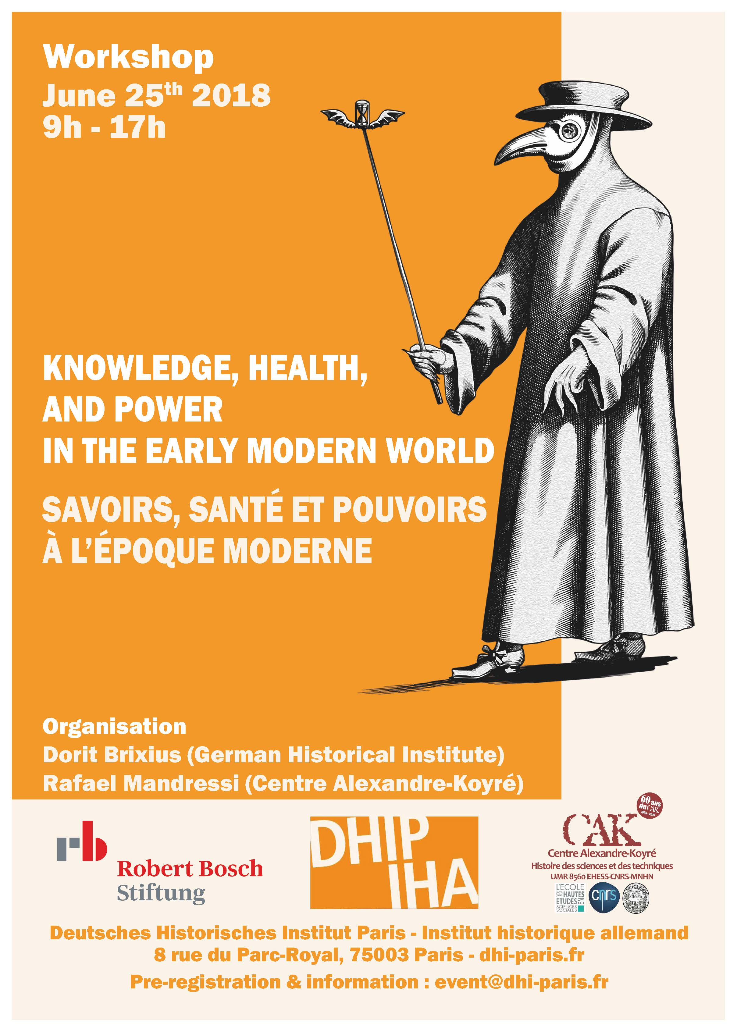 Journée d'études - Savoirs, santé et pouvoirs à l'époque moderne / Knowledge, health, and power in the early modern world