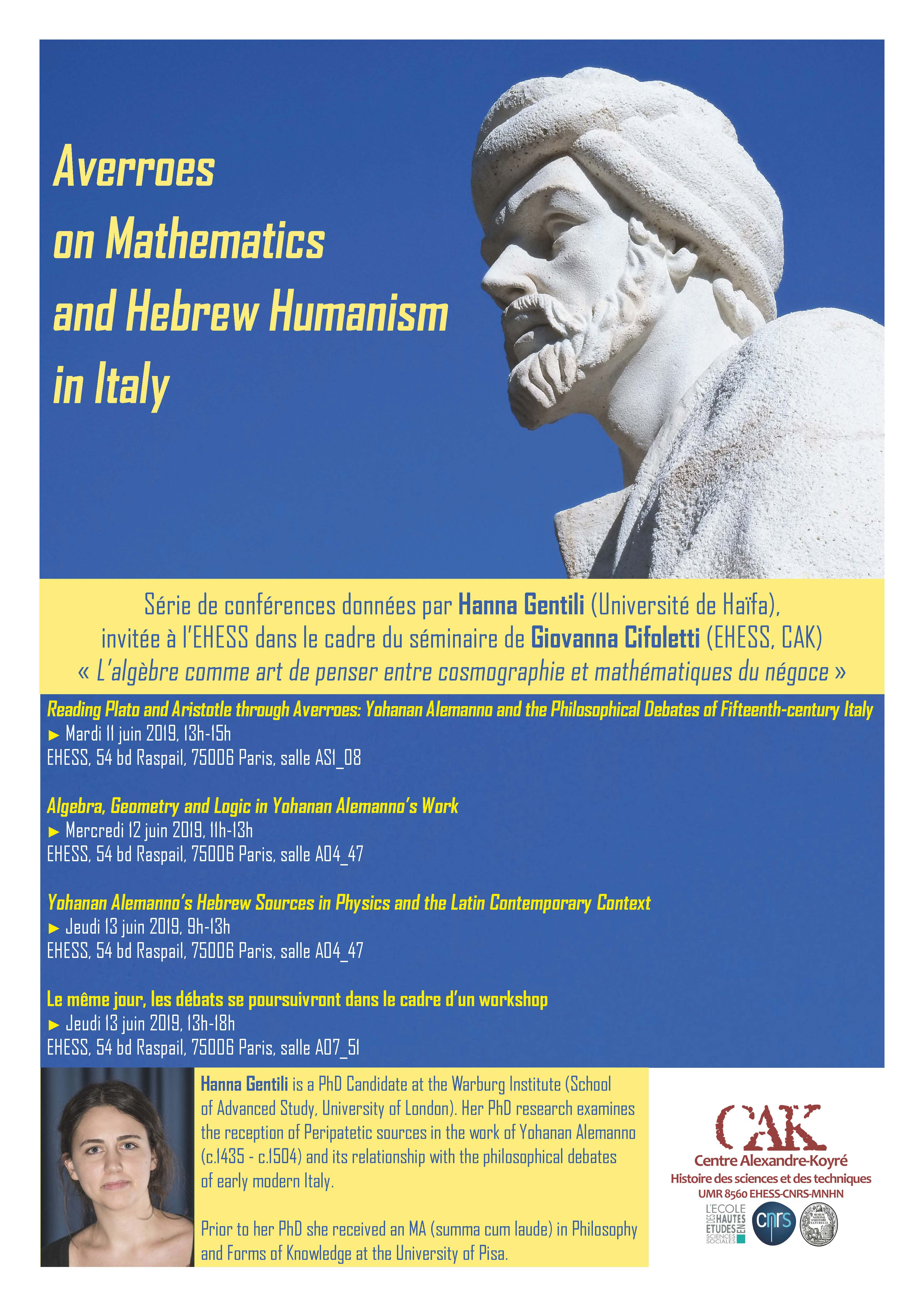 Conférences - Hanna Gentili (Université de Haïfa) : Averroes on Mathematics and Hebrew Humanism in Italy